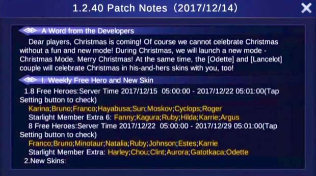Mobile Legends Update Patch Notes 1.2.40 - Christmas Mode
