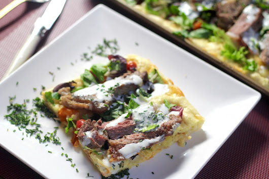 Sheet Pan Steak Gouda Pfannkuchen with Creamy Chive Sauce
