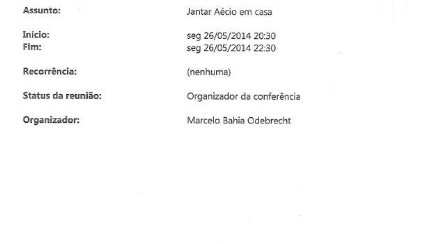 Marcelo Odebrecht entrega registro de condomínio para confirmar jantar com Aécio Neves (PSDB/MG)
