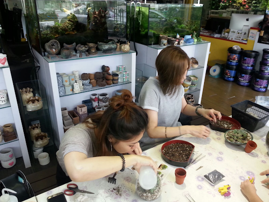 Family outing potting terrariums!