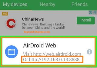 Tampilan Awal Aplikasi Airdroid Di Android
