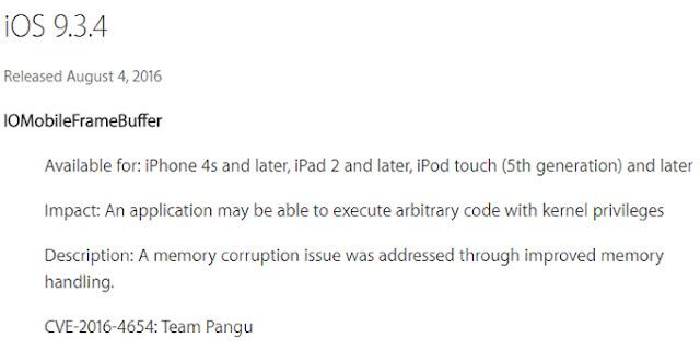 iOS 9.3.4 rilis dengan pembicaraan jailbreak