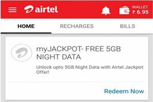 Unlock upto 5GB free data usage with Airtel Jackpot Offer