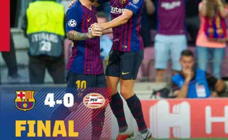 Hasil Barcelona vs PSV Eindhoven Skor Akhir 4-0