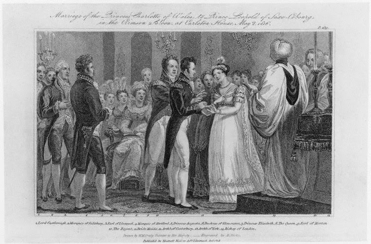 The wedding of Princess Charlotte of Wales and Prince Leopold of Saxe-Coburg-Saalfeld, 1818