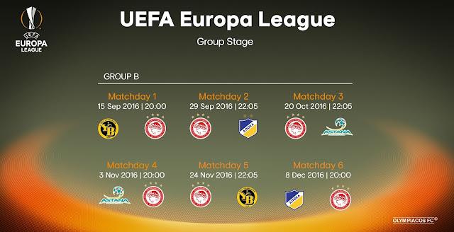Tο αναλυτικό πρόγραμμα του Ολυμπιακού στον 2ο όμιλο του Europa League