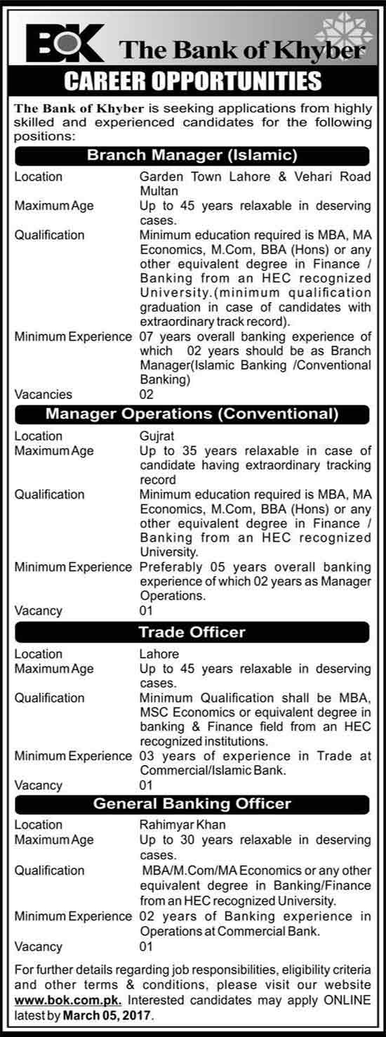 The Bank Of Khyber JOb for  in Lahore, Multan, Gujrat & Rahim Yar Khan