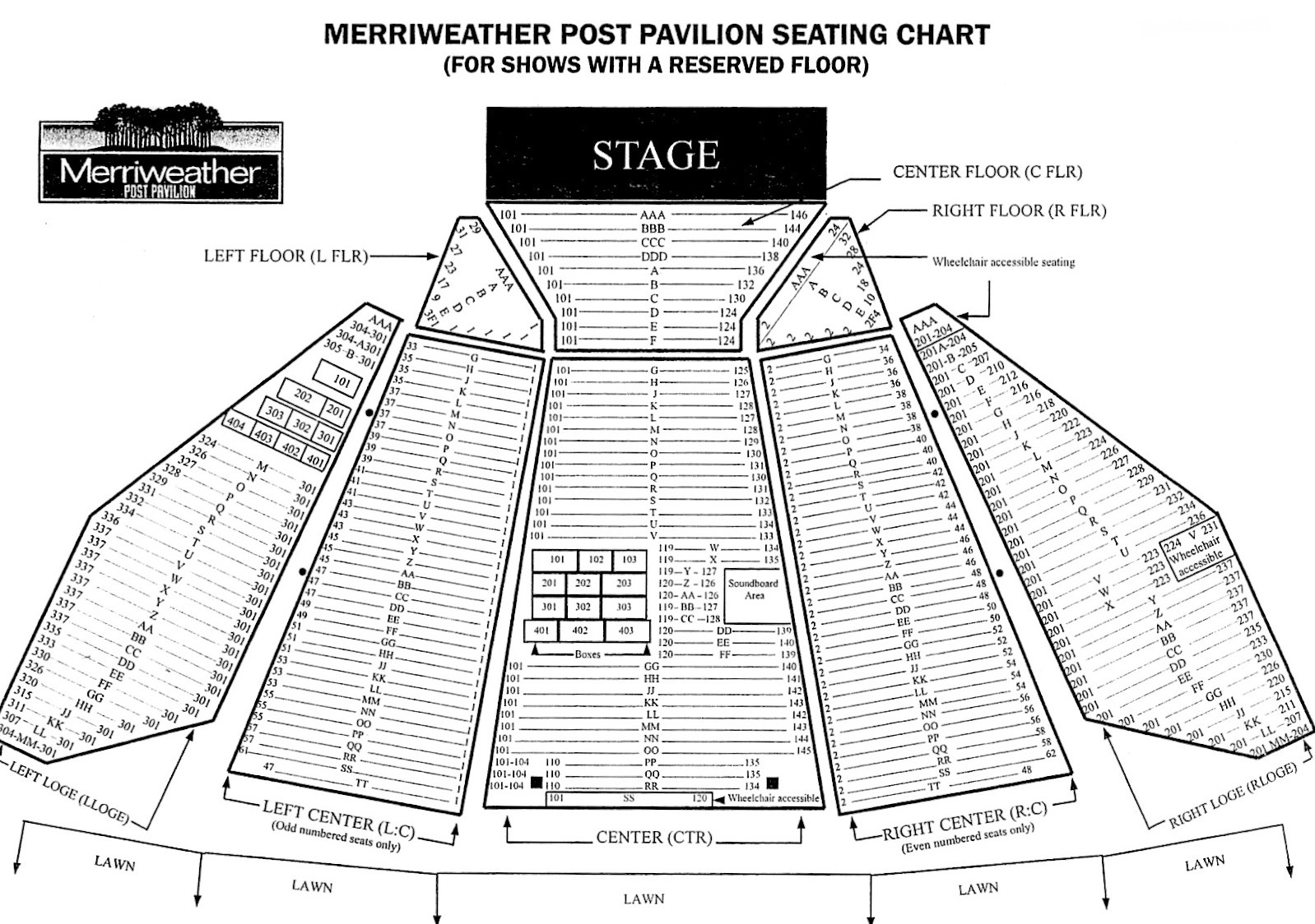 merriweather post pavilion seating chart - Merriweather Post Pavilion Seating Chart & Interactive Seat Map