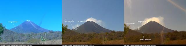 Panaches sur le volcan Momotombo, 31 janvier 2016