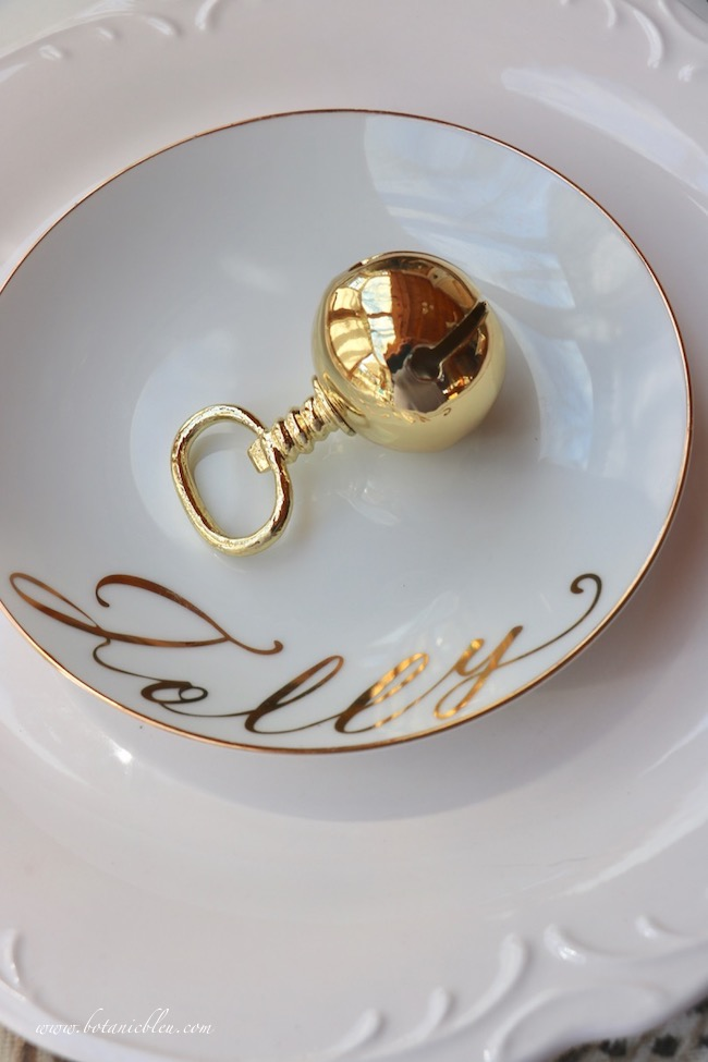 whimsical words on tidbit plates for a French table setting