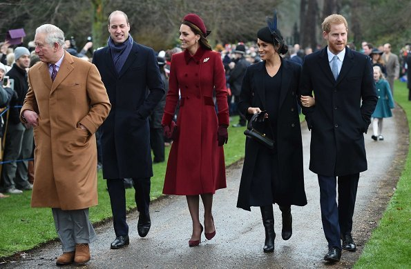 Kate Middleton wore Catherine Walker coat. Meghan Markle wore Victoria Beckham coat. Princess Eugenie wore Andrew Gn Coat. Autumn Phillips in Claire Mischevani coat