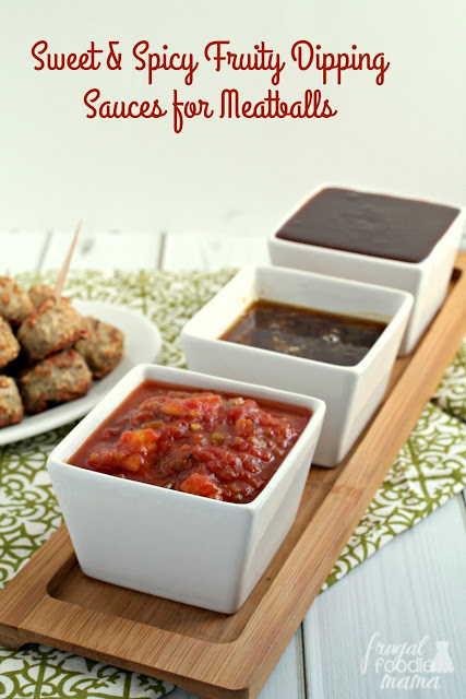 Serve this trio of Sweet & Spicy Fruity Dipping Sauces- Mango-Salsa, Cherry BBQ and Orange-Ginger- alongside your favorite meatballs for the perfect game day or party appetizer.