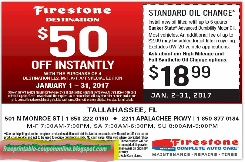 Firestone autos post for Printable motor oil coupons 2017