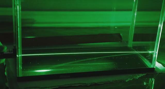 reflejo, laser, curvado, agua, azucar
