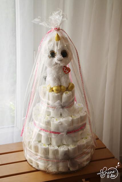 Gâteau Licorne Rose Or Dorée Fille Baby Shower Gâteau de couches Fille Recette pas à pas étapes par étapes Cake Design Surprise