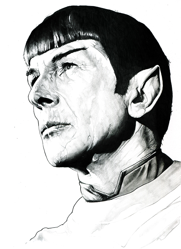 09-Leonard-Nimoy-Mr-Spock-Corbyn-S-Kern-Game-of-Thrones-Star-Trek-and-Star-Wars-Character-Drawings-www-designstack-co