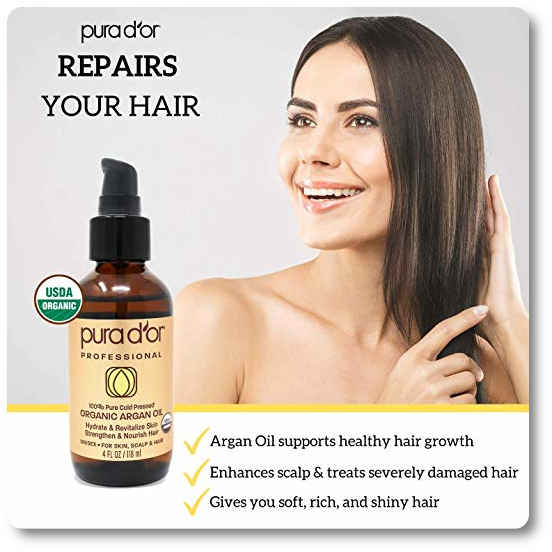 PURA D'OR 4 oz Organic Moroccan Argan Oil for frizzy hair