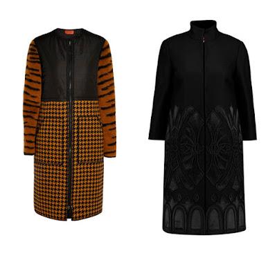 Желтое пальто с принтом и черное пальто с вышивкой