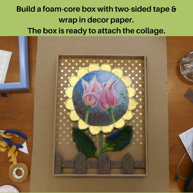 Foam core box to attach details for art.