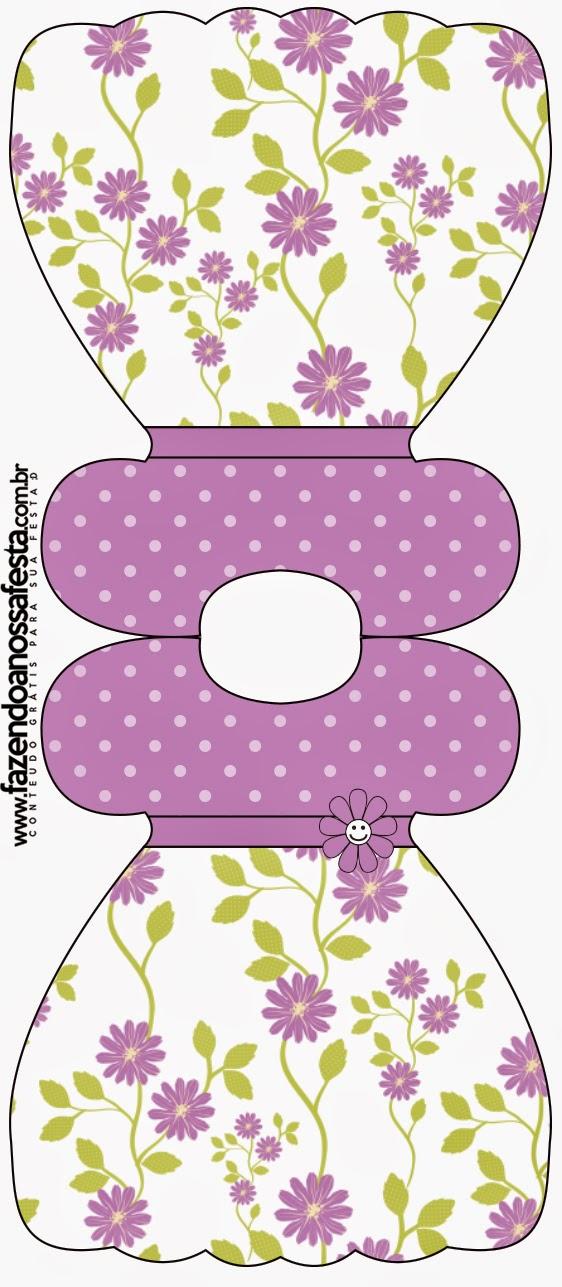Tarjeta con forma de Vestido de Flores Moradas.