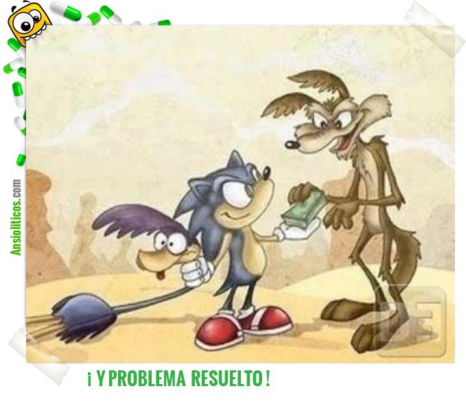 Chiste de Correcaminos, El Coyote y Sonic