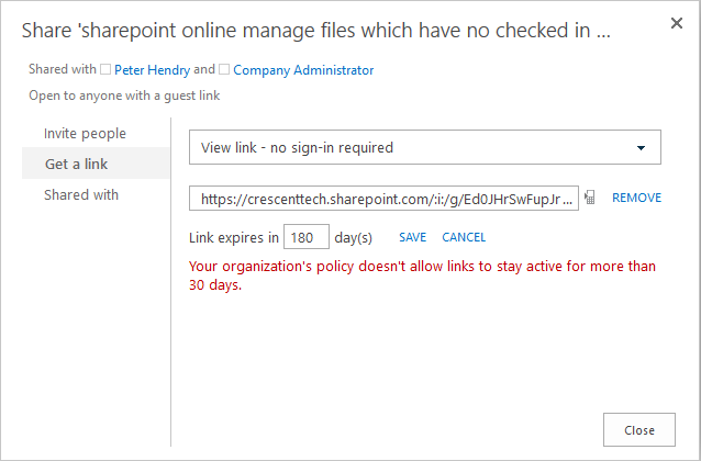 sharepoint online share link expiration
