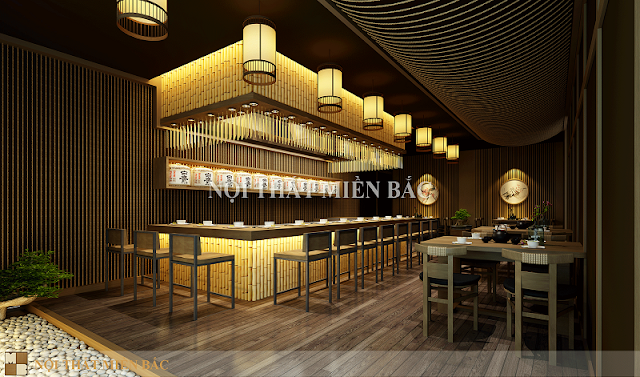 Quầy bar của thiết kế nội thất nhà hàng Nhật luôn là không gian ấn tượng và thu hút sự chú ý của nhiều khách hàng