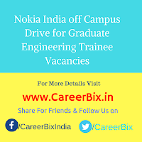 Nokia India off Campus Drive for Graduate Engineering Trainee Vacancies