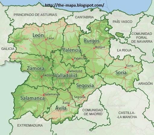 Mapa De Espana Geografia Politica Mapa De Castilla Y Leon Politico