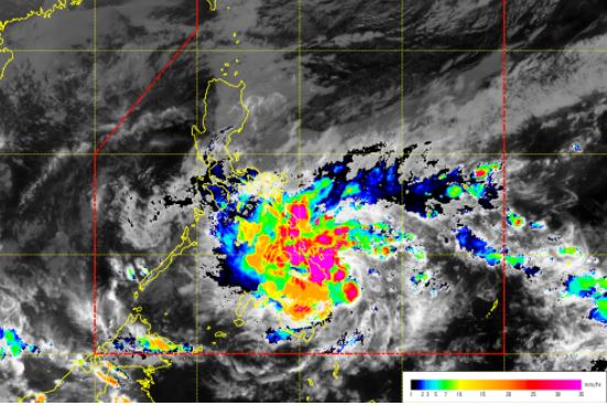 'Bagyong Agaton' rainfall intensity per COMS-RI satellite.