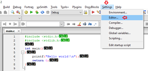 Techies Sphere: How to remove CR LF from codeblocks new project?