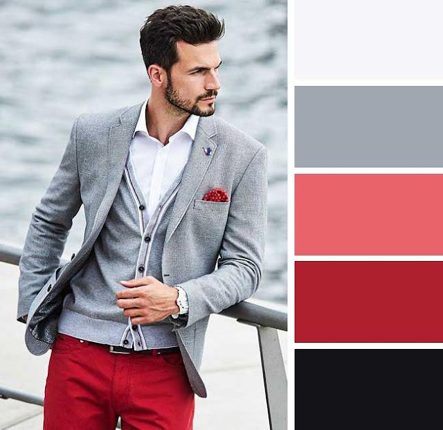 Açık gri, kırmızı ve siyah ile karışık