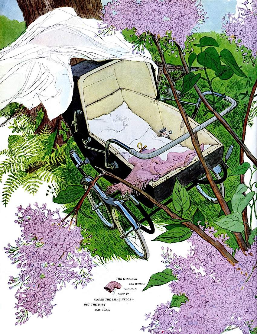 an Al Parker magazine illustration of an empty baby carriage