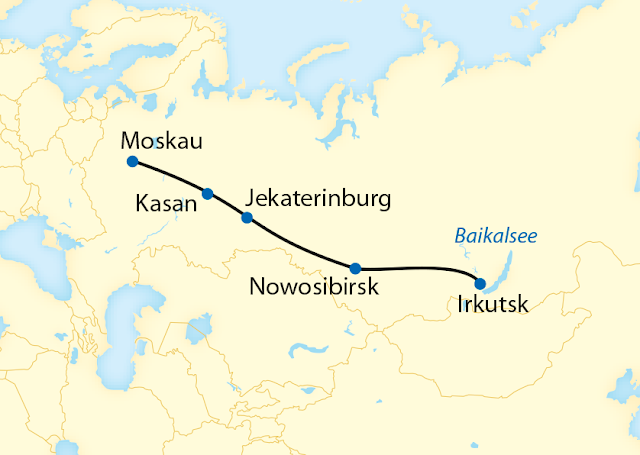 Route Transsib Zarengold, Moskau Baikalsee