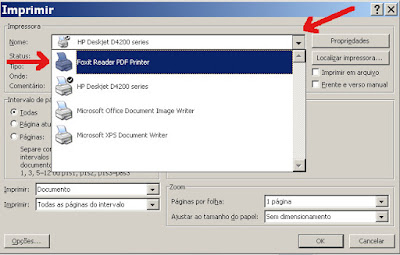 Opção de imprimir em PDF