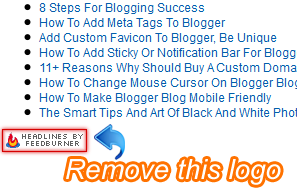 How to remove feedburner logo from buzzboost widget easily...