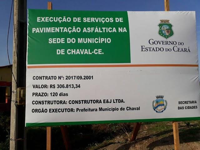 Asfalto em Chaval: placa de sinalização da obra já foi colocada