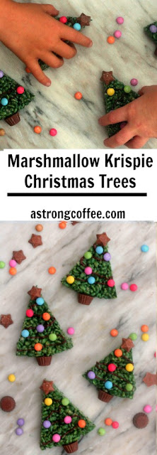 easy to make Christmas treat using marshmallows. rice krispies and chocolate