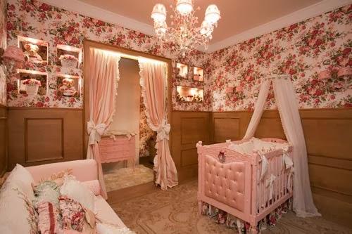 diseño dormitorio bebé marrón rosa