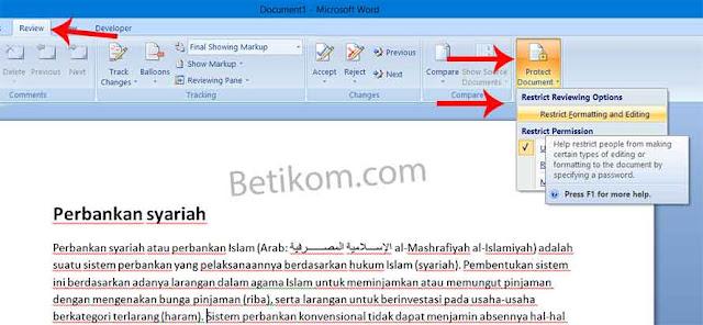 Cara mengunci dokumen agar aman dan hanya bisa dibaca aja di word 2007