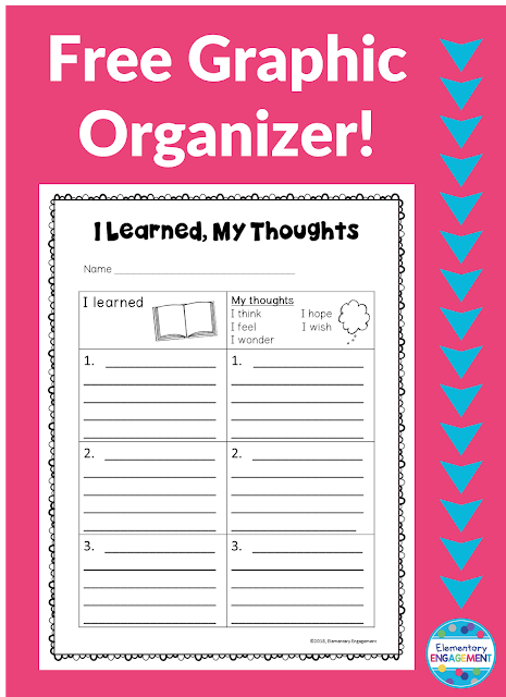 This graphic organizer is a great way for students to share what they learned as well as what they think about their reading.  Bonus: It's free!