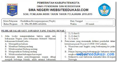 Soal PAT/UKK PKn Kelas 10 K13 Tahun 2018/2019