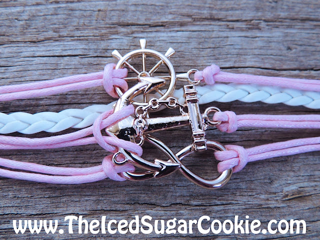 Pink and White Inifinity Sign Bracelet Ship Wheel Anchor- Unique, Cute, Trendy Jewelry For Girls