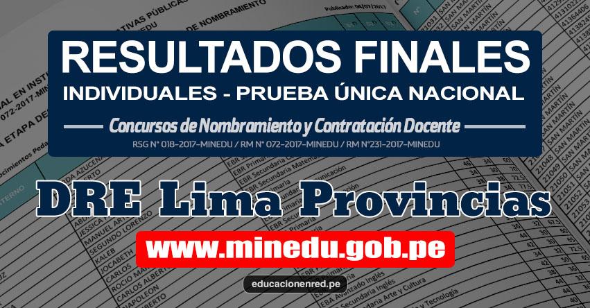 DRE Lima Provincias: Resultado Final Individual Prueba Única Nacional y Relación de Postulantes Habilitados para Etapa Descentralizada Nombramiento Docente 2017 - MINEDU - www.drelp.gob.pe