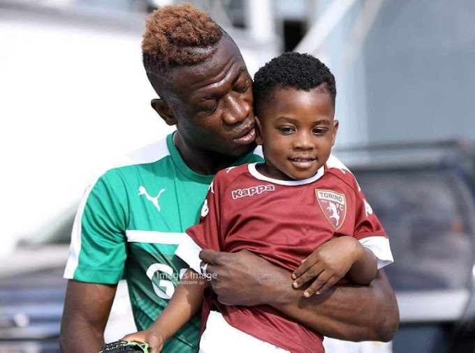 Black Stars midfielder Afriyie Acquah spotted with his adorable son during Black Stars training