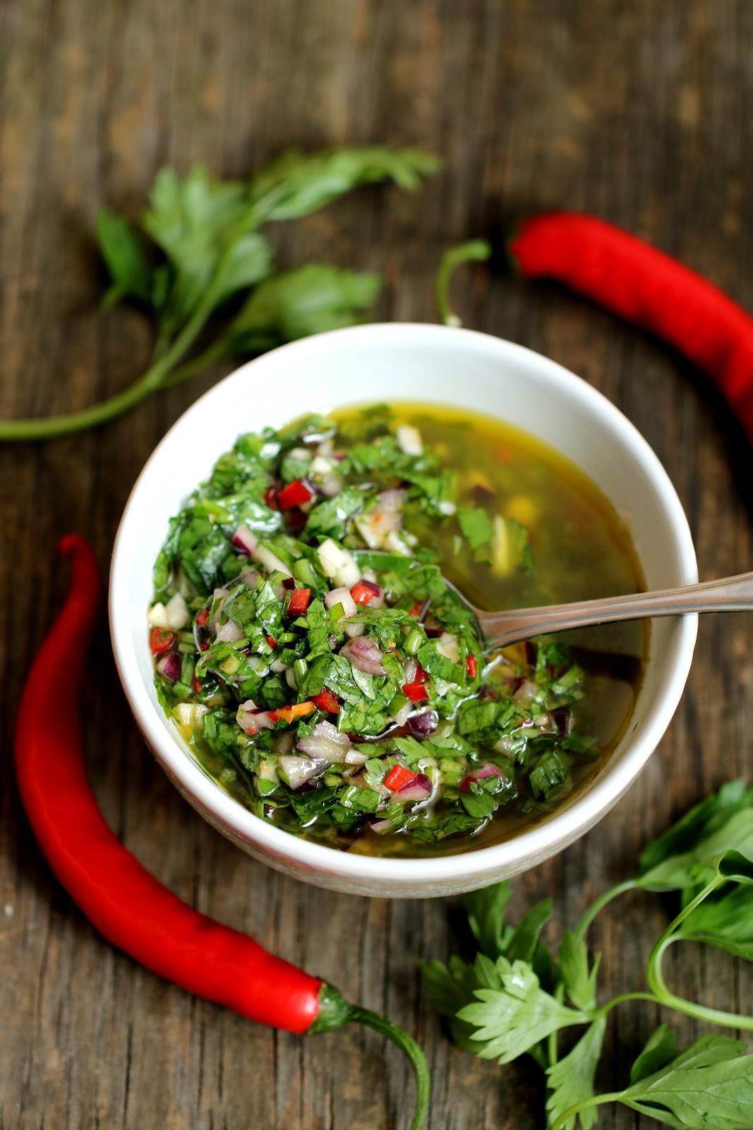 Qchnia Osobista  Galaretka z pomidorów z sosem chimichurri -> Qchnia U Orzecha