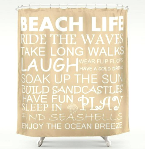Beach Life Rules Shower Curtain