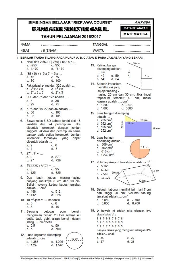 Download Paket Soal UAS Ganjil Kelas 6 SD/MI Semester 1 Kurikulum 2006 KTSP ~ Rief Awa Blog