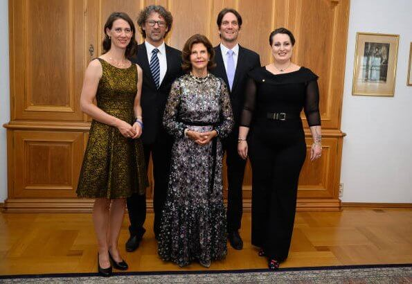 Queen Silvia wore Alexis Holly sequin garden gown. Bettina Countess Bernadotte, Philipp Haug, Björn Count Bernadotte and Diana Countess Bernadotte