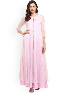 Ahalyaa Women Pink & Silver-Toned Embellished A-Line Kurta